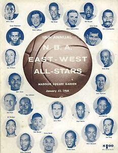 1968 NBA All Star Game East West Program Madison Square Garden FAIR+/GOOD RARE