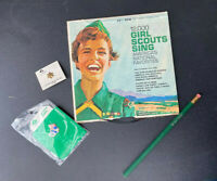 Mixed lot vintage Girl Scout 1965 GIRL SCOUTS SING 1990s pins unused pencil