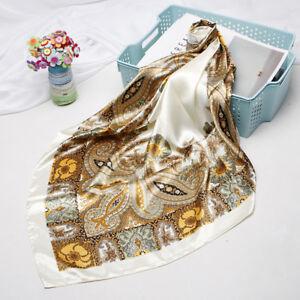 "Floral Print Hijab Scarf Women Fashion Faux Silk Square Head Shawl Wrap 35""*35"""