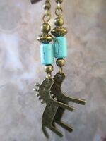 Bronze Flat Horse with Howlite Turquoise Tube Beads Artisan Handcrafted Earrings