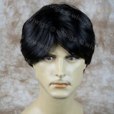 Wiwigs Classic Handsome Bangs Layered Black Men's Full Wig