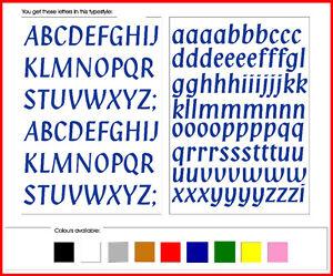 STICKY LETTERS 15mm high vinyl alphabet set - Penstyle - any colour