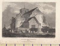 1805 Antiguo Pequeño Georgiano Estampado ~ Waltham Abbey Iglesia South East ~