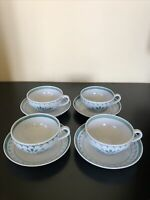 """4 Sets Arabia """"Green Thistle"""" Made In Finland Tea Cup Coffee Cup and Saucer."""