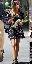 TOPSHOP Iconic Navy Polka Dot Spotted Celebrity Vtg Mini Skater Tea Dress 6 2 XS