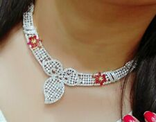 American Diamond Red Stone Bridal Fashion Jewelry Choker Necklace Earrings Love