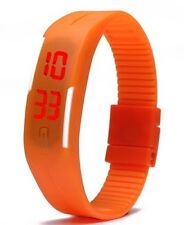 Orange Digital Unisex Sports Watch With Time And Date On A Rubber Jelly Strap.