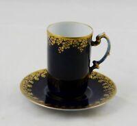 JP Limoges Jean Pouyat Cobalt & Gold Demitasse or Chocolate Cup & Saucer France