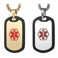 Free Custom Engraving Stainless Steel Medical Alert ID Dog Tag Pendant Necklace