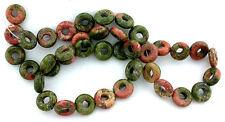 10mm Donut Unakite Gem Stone Gemstone Bead 15 Inch Strand UB1