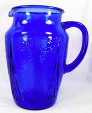 Blue Royal Lace Pitcher Hazel Atlas Depression Glass 64 oz. Vintage Good Cond
