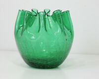 Vintage Mid Century Modern Blenko Green Crackle Glass Pinched Rim Vase