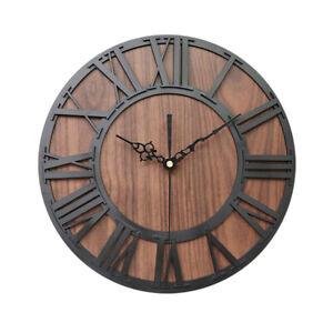 European Vintage Wooden Roman Digital Craft Wall Clock