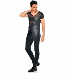 Patrice Catanzaro, Santor, T-Shirt sexy en micro résille et wetlook laqué
