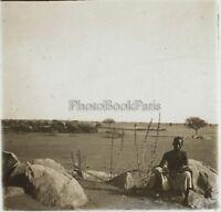 Africa Nera Uomo Deserto Foto NB6 Placca Da Lente Stereo Vintage Ca 1910