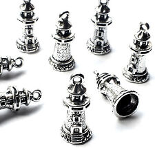 8 Tower Lighthouse Charms Pendants, Silver Plated, 20mm Nautical, Gothic Fantasy