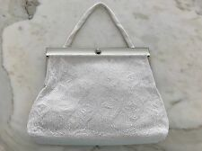 WOLBORG VINTAGE HAND-MADE IN BELGUIM WHITE LARGE BEADED PUSH BUTTON CLASP BAG