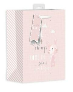 Girls Pink Baby Shower Gift Bag Medium Teddy Cute Things Come in Small Packages