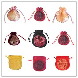 Silk Gift Bags Purse Lucky Embroidered Jewellery Wedding Party 11x12cm 9 Colour