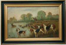 Barton Rose, Chasse à courre, huile/ Barton Rose, hunting scene, Oil on canvas