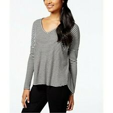 ONE CLOTHING Women STRIPED THERMAL HEATHER GREY L