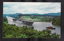 Posted 1957 View of US A ircraft Carrier passing through Gaillard Cut, Panama