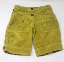 Catimini Yellow/Green Velvet-Feel Embroidered 100% Cotton Shorts Trousers 10yrs