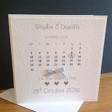 "Personalised Handmade ""Wedding Day Calendar""  Card - 6x6"" - Double Mounted"
