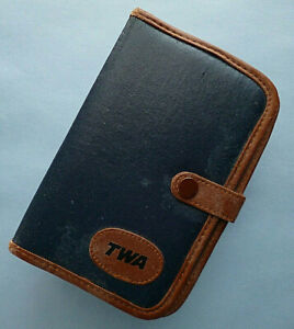 1983-84 TWA Leather Portfolio -TWA Ambassador Club card, notebook, pen and clips