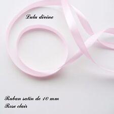 2 mètres de ruban satin largeur de 10 mm (1 cm)  Couleur : Rose clair