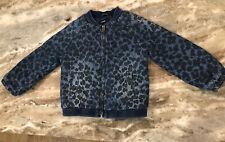 Baby Gap Blue Animal Print Bomber Coat Toddler Girls Size 2T Jacket