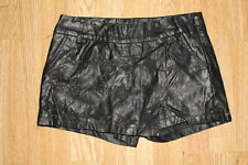 Sexy Black Look Leather BADIOU Glossy Star Biker Clubwear Hot Pants-Skirt Size S