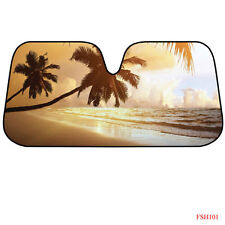 New Plam Tree Beach Sunset Ocean Car Truck Windshield Folding Sun Shade Large Sz