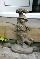 Old vintage heavy 5.1kg solid brass door stop man leaning on tree/axe/pipe/dog