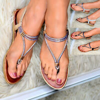 Ladies Flat Strappy Sandals Open Toe Post Slingback Summer Beach Wedding Shoes