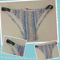 Xhilaration Womens Bikini Bottom Swimwear Extra Small White Blue Orange Aztec
