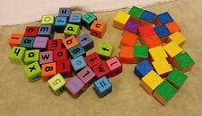 Wood (Wooden) and Plastic Toy Blocks Lot 53 total
