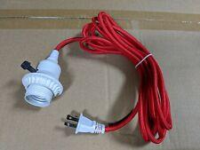 White Plastic Lampholder Pendant w/ 12 ft 2-Wire ROUND Red Cord Plug