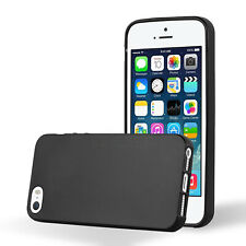 COVER PER IPHONE 5S / 5 / SE APPLE CUSTODIA MORBIDA TPU OPACA ANTI-IMPRONTA NERA