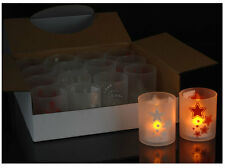 4 Ensemble LED Photophore + Porte-bougies avec thèmes de Noël rouge/blanc 60xø