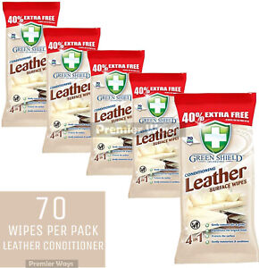 70 X GREEN SHIELD LEATHER SURFACE WIPES FOR CAR, SOFA, COUCH ,SHOES & BAGS
