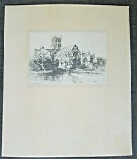 "Vintage Etching ""Wells Cathedral"" by C. Russell, Signed"