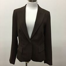 Jessica McClintock 8 Blazer Jacket Career One Button Brown Pinstripe