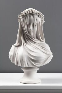 """Veiled Lady Bust Statue / Maiden Marble Sculpture - Made in Europe 13.9""""/ 35.5cm"""