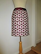 BODEN BURGUNDY WOOL MIX KNEE SKIRT WITH STRIKING CREAM/BURGUNDY FLOWERS UK 10
