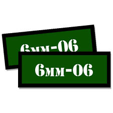 6mm-06 Ammo Can Stickers 2x GREEN Ammunition Gun Case Labels Decals 2 pack