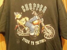 POPEYE on a Chopper black graphic 2XL t shirt strong to finish motorcycle