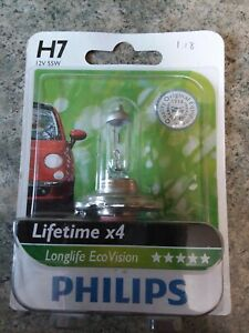 Philips LongLife EcoVision H7 Headlight Bulb 12342PRB1 LIFETIME X4 GERMANY