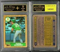 Mark McGwire Oakland A's 1987 Topps Rookie Card #366 GRADED ASG 9 NM #E