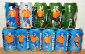 Pepsi Cola Complete EURO 2000 SOCCER 11 Cans set from NETHERLANDS (33cl) (empty)